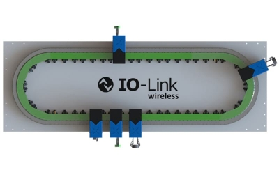 Comunicación IO-Link Wireless Smart Industrial Transport Track